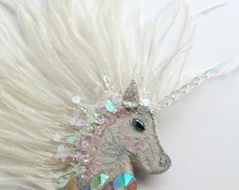 Unicorn Fascinator, white unicorn corsage, ostrich feather brooch