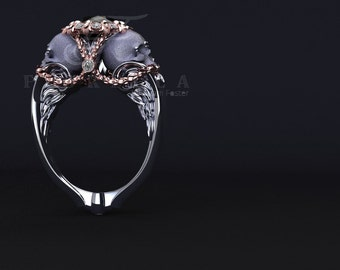 Winged Imperial Black Diamond Skull Engagement Ring 14K White and Rose Gold