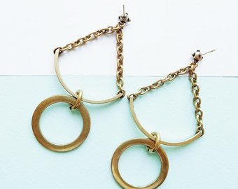 Balance Earrings Oxidized Brass Finish
