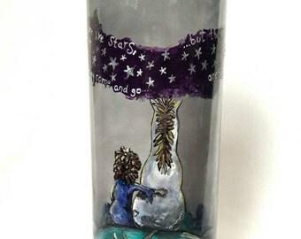 Friends and stars handpainted vase. Best friends, valentine, horse gift