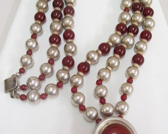 Vintage Nancy & Rise 14k Gold and Sterling Silver Bead Genuine Carnelian Signed Necklace HEAVY! 255G