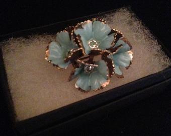 Sale Striking Vintage 50s Enamel Blue Flower Brooch/ Wedding Jewelry/ Bridal Jewelry