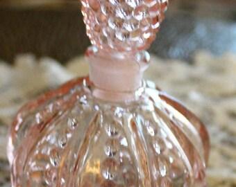 Beautiful Cut Glass Pink Perfume Bottle