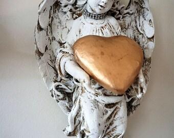 Angel statue wall hanging w/ handmade heart and rhinestone crown distressed aged patina shabby cottage chic cherub home decor anita spero