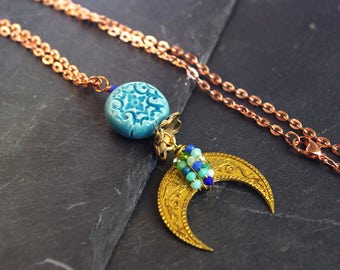 Crescent Half Moon Necklace Tusk Double Horn Dragon Pendant Turquoise Golden Wire Wrapped Jewelry Unique Gift For Women
