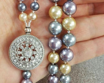 Beaded Lanyard Tahitian Glass Pearls ID Badge Holder Gift Nurse Teacher Student Vacation Hold your ID LQexpressions