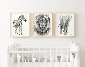 Nursery Animals Art Prints Safari Jungle Nursery Animals Zebra Lion Elephant Watercolor Art Prints Black and White Print Set 3 Giclee Prints