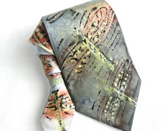 Dragonflies NeckTie. Hand Painted Silk Tie. Grey Gold Tie. Anniversary Birthday Gift for Him Silk Tie. OOAK Silk Tie. Ready to Ship.