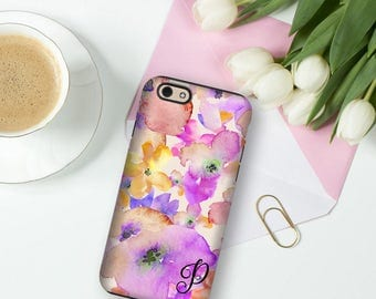 Monogrammed phone case, Pretty Purple Floral Purple watercolor flowers Gift for her Fits iPhone 4/4s 5/5s 6/6s 7 8 5c SE X and Plus (1701