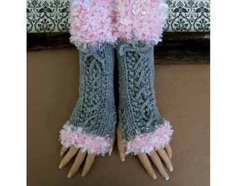 Knitted Fingerless Long Gloves Grey Corset Wool Gloves, Arm Warmers, Gothic Gloves,  Burlesque Wrist Gloves, Australia