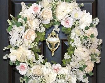 Cream Door Wreaths, Shabby Chic Wreaths, Home Decor Gifts for Women, Wedding Wreaths, Bridal Wreaths,