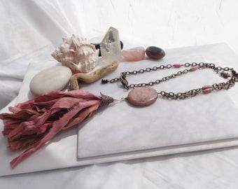 Sari Silk Ribbon Tassel, Copper Beaded Chain Necklace, Adjustable, Gemstone Pendant, Garnet, Rhodonite, Boho, Southwestern, Gift for Her