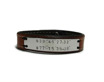 Couples personalized GPS Coordinate leather bracelet, His or hers Anniversary gift