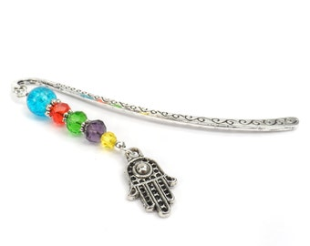 Colorful Hamsa Hand Bookmark, Gift for Spiritual Person, Metal Page Markers