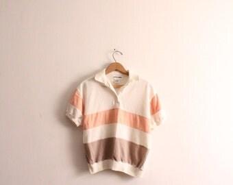 Pastel Striped 80s Collar Shirt