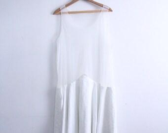 Sheer Top Minimal Midi Dress