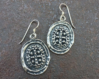 Cross Coin Knotted Vintage Rustic Silver Dangle Earrings Spanish Coin Jewelry by Two Silver Sisters