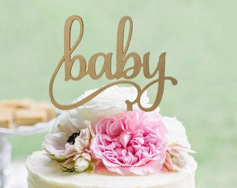 """Gold """"Baby"""" Cake Topper - Cake Toppers - Rustic Country Chic Baby Shower - Baby Cake Topper - Cake Topper"""