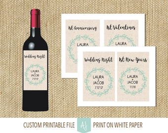 Customizable Wedding Milestone Wine Labels- Set of 8 Bottle Labels- Printable Tags for Unique Wedding Gift