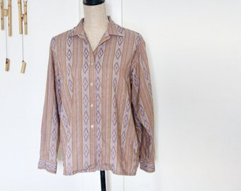 Vintage IKAT Shirt - Mauve Pink and Neutrals / Vintage shirt