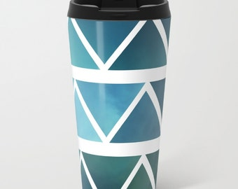 BlueTravel Mug Metal - Coffee Travel Mug - Modern Blue Art -  Hot or Cold Travel Mug - 15oz Mug - Stainless Steel - Made to Order