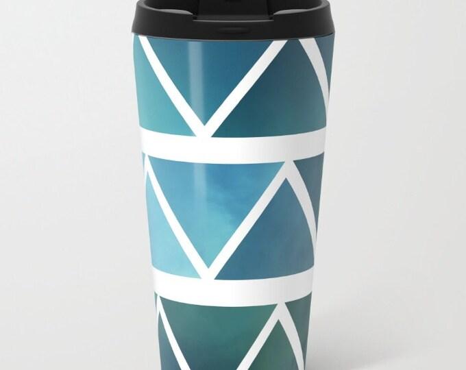 BlueTravel Mug Metal - Coffee Travel Mug - Modern Blue Art -  Hot or Cold Travel Mug - 15oz Mug - Stainless Steel - Made to Order