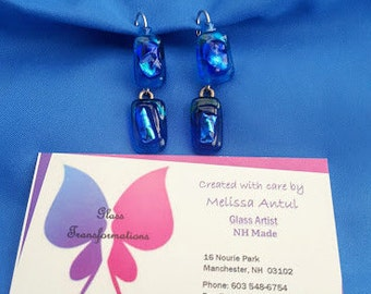 Double drop rectangles of dichroic blues with beads