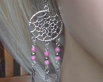 Pink-Silver Drop Earrings, Dreamcatcher, Spider Web,Silver Feather, Pink Stone Beads, Native American Style, Sacred Symbol, Protective Charm