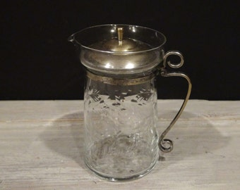 Vintage Etched Pitcher / Silver Plated Lid and Handle / Creamer