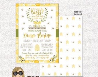 Bumble Bee Theme Invitation | Custom Baby Shower, Birthday, First Birthday Party, Event | Fun, Summer, Bee Hive | 5x7 | DIY PRINTABLE FILE
