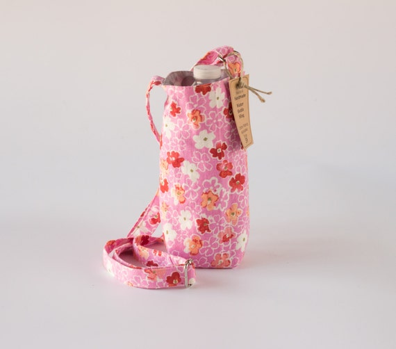 Pink Water Bottle Holder, Water Bottle Sling, Water Bottle Carrier, Gray Polka Dots, Red, Pink, White, and Gray Cotton Fabrics, Handmade