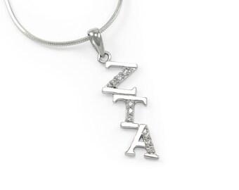 Zeta Tau Alpha Sterling Silver Diagonal Lavaliere with CZs / Sorority Jewelry / Sorority necklace / ZTA Accessories / Zeta Tau Alpha