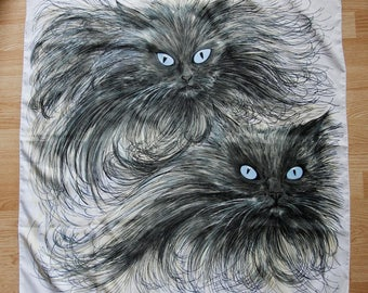 """1950's/1960's French Scarf """"Persans"""" Polyester Persian Vintage Handkerchief Cat Tapestry Wearable Art by Designer Denise Francelle Paris"""