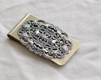 brushed metal filigree money clip
