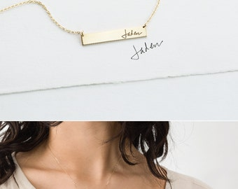 Actual Handwriting Bar Necklace or Bracelet, Custom Signature Necklace • Personalized Gold, Silver or Rose Gold Name Bar Necklace • LZ155_32