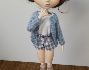 Longsleeve long cardigan with pockets for Pullip, Blythe, Obitsu, Dal, Momoko, Tangkou, 1/6 scale dolls