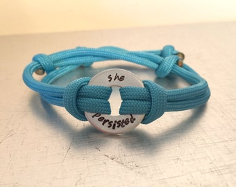 SHE PERSISTED Bracelet - Personalized One Washer Double Strap Paracord Bracelet