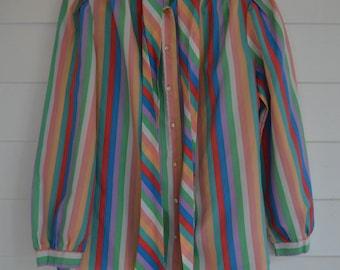 SALE 1980s Multi-Colored Button Down with Neck Tie