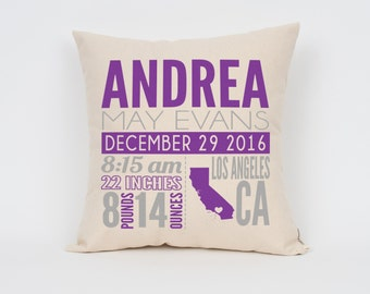 Custom Baby Gift, Birth Announcement Pillow, Nursery Decor, Home & Living, Baby Boy, Baby Girl, Gift for New Mom, Baby Gift, Mother's Day