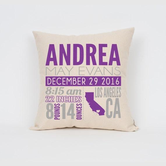 Custom baby gift birth announcement pillow nursery decor like this item negle Choice Image