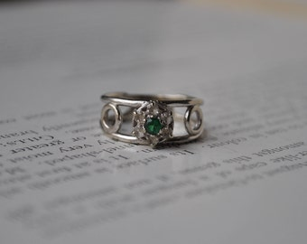 Vintage 10k White Gold Ring - 1970s 10k Ring with Spinel