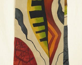 Abstract with Organic Forms - Rich Stonewashed Crepe de Chine - Hand Painted Silk Scarf