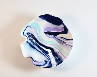 Navy and Lilac Clay Trinket Dish