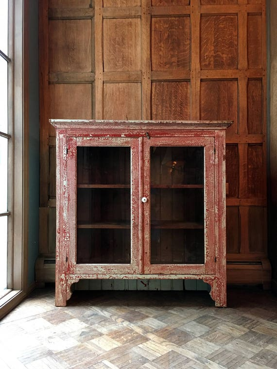 Antique Farmhouse Cabinet Cupboard, Original Distressed Red And White Paint, Rustic Farmhouse Decor, Farm House Kitchen, Entryway Furniture