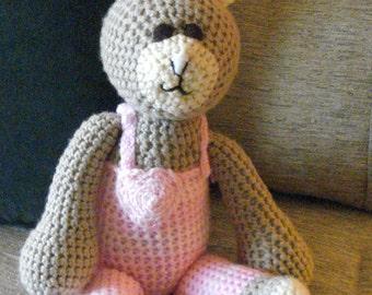 "Crocheted bunny rabbit stuffed animal doll toy ""Bella"""