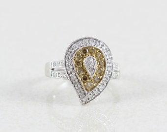 10k White Gold White Diamond Fancy Yellow Diamond Ring Size 6 1/2