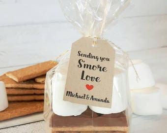 S'more Love Favor Tags- Sending You S'more Love- 25-50 or 100 Tags- Customised Tags- Smore Kit Favor Tags