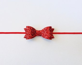 Red Glitter Bow | Small Red Glitter Bow Headband  | Red Baby Bow | Red Christmas Bow | Glitter Red Bow Baby Headband/Clip | Red Bow