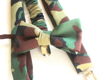 Suspenders with bow tie,camouflage,set as well for boys too