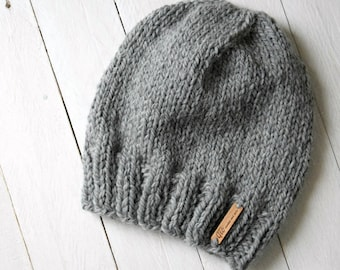 Grilled grey alpaca and wool hat, ladies knitted Cap.